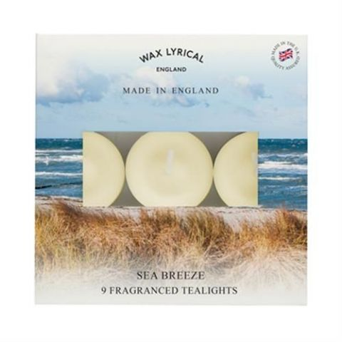 Sea Breeze TEALIGHTS Made In England Scented Candles Wax Lyrical (Pack of 9)